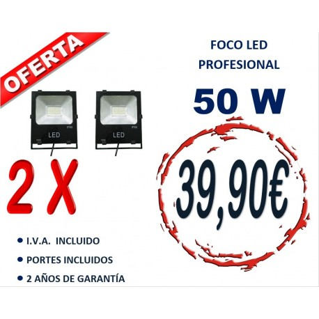 2 XPROYECTOR LED PROFESIONAL SMD 50W