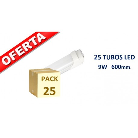 PACK 25 UNIDADES TUBO LED T8 600mm 10W