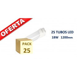 PACK 25 UNIDADES TUBO LED T8 1.200mm 18W