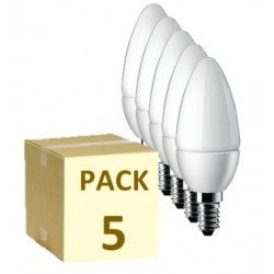 PACK DE 5 BOMBILLAS LED E14 VELA 6W