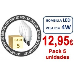 PACK 5 BOMBILLA S E14 VELA 4W
