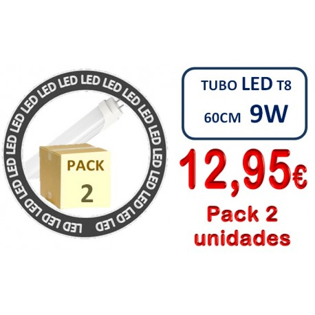 PACK 2 UNIDADES TUBO LED T8 600mm 9W