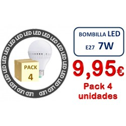 PACK DE 4 BOMBILLAS LED E27 7W