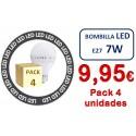 PACK DE 4 BOMBILLAS LED E27 7W