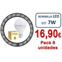 PACK DE 8 BOMBILLAS LED E27 7W