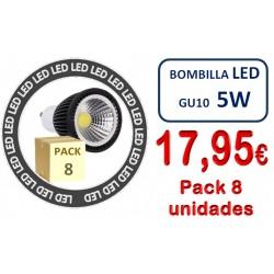 PACK 8 BOMBILLAS  GU10 ELEGANCE COB 5W